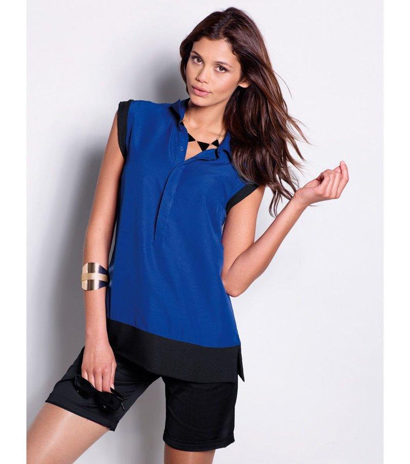 Camisa blusa mujer sin mangas bicolor
