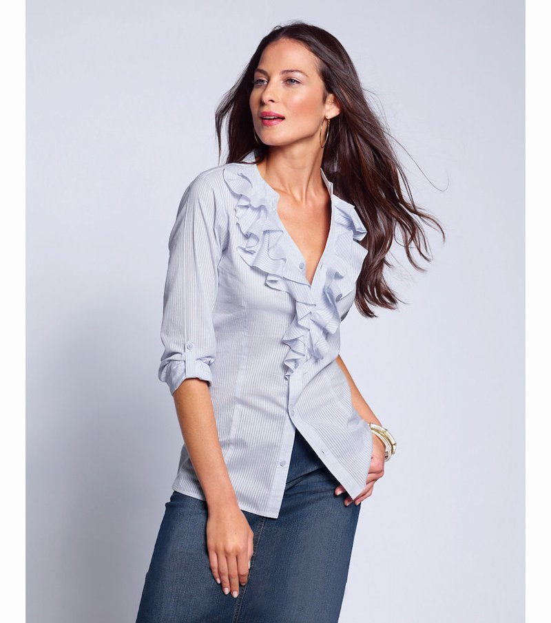 Camisa mujer manga regulable con volantes