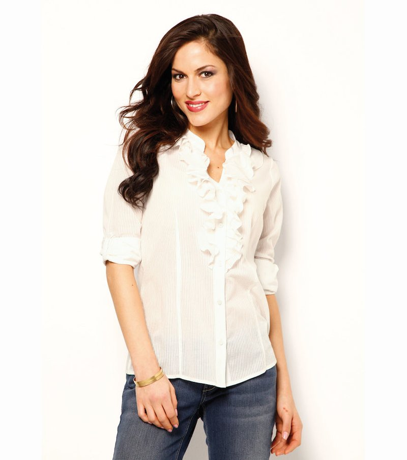 Camisa mujer manga regulable con volantes - Beige