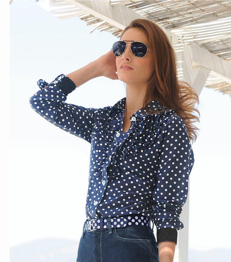 Camisa blusa mujer manga larga volante