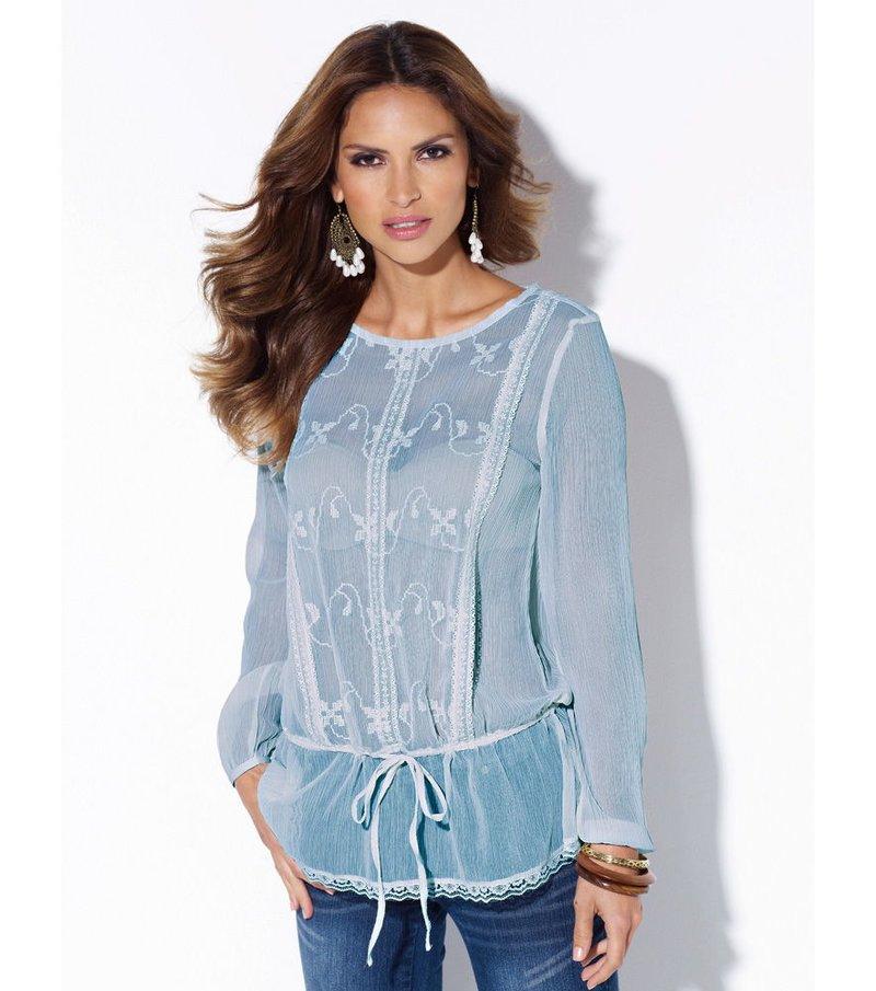 Blusa mujer con puntilla y bordado - Azul