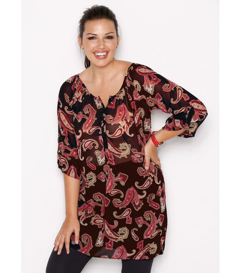 Blusa túnica mujer manga regulable estampada