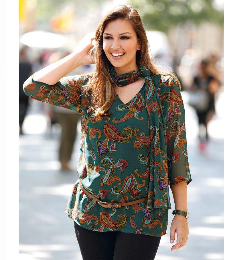 Blusa mujer manga 3/4 con foulard