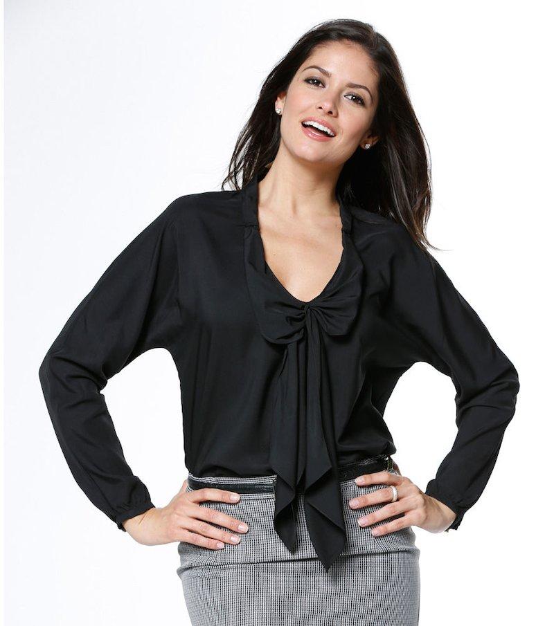 Blusa mujer manga larga con lazada