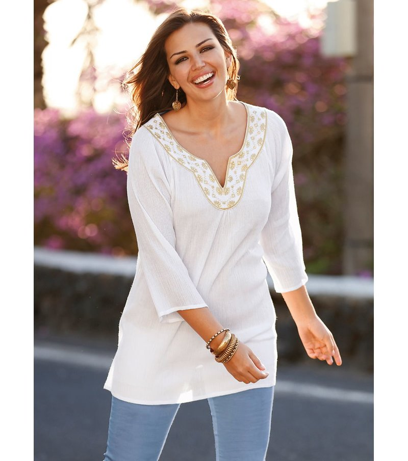 Blusa túnica mujer con hilo dorado algodón bambula - Blanco