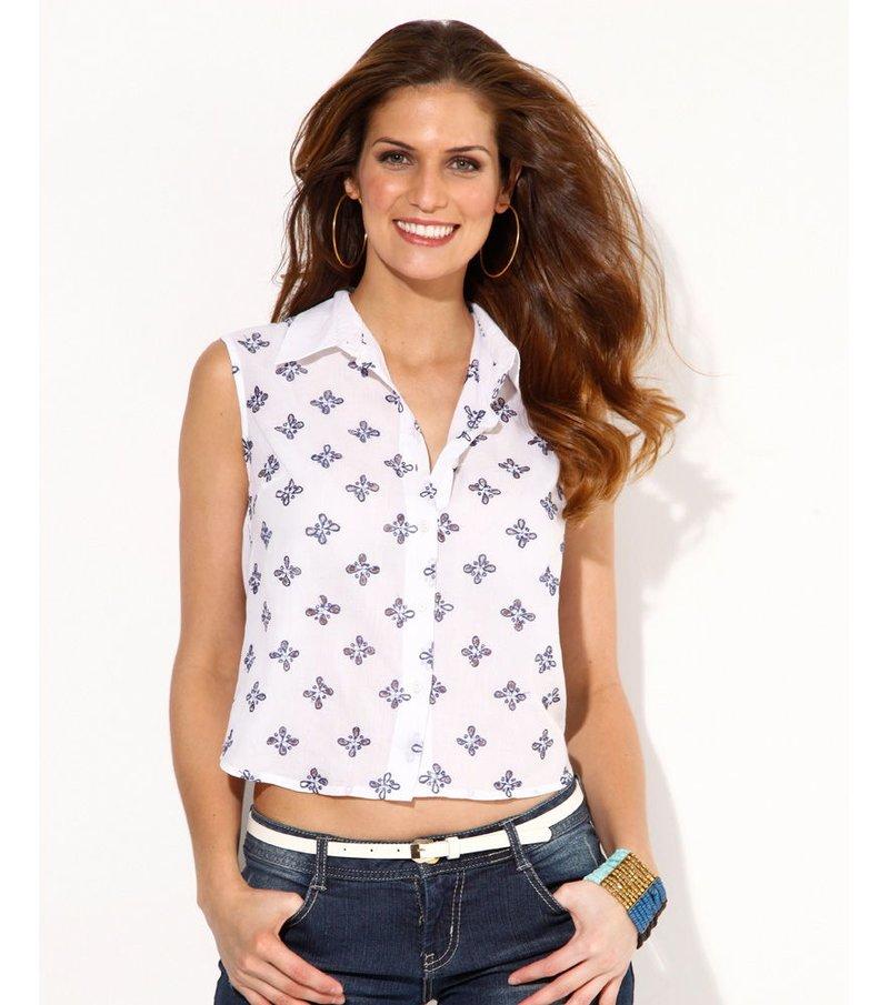 Camisa mujer sin mangas bordada 100% algodón