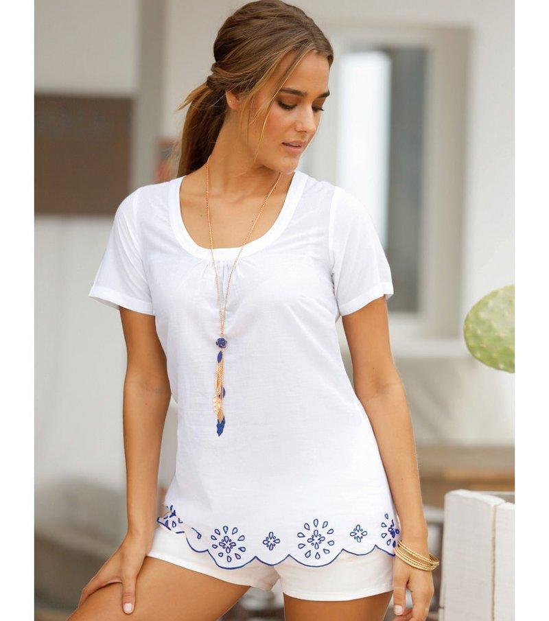 Camisa mujer manga corta bordada - Blanco