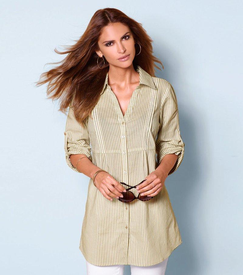 Camisa mujer manga regulable 100% algodón