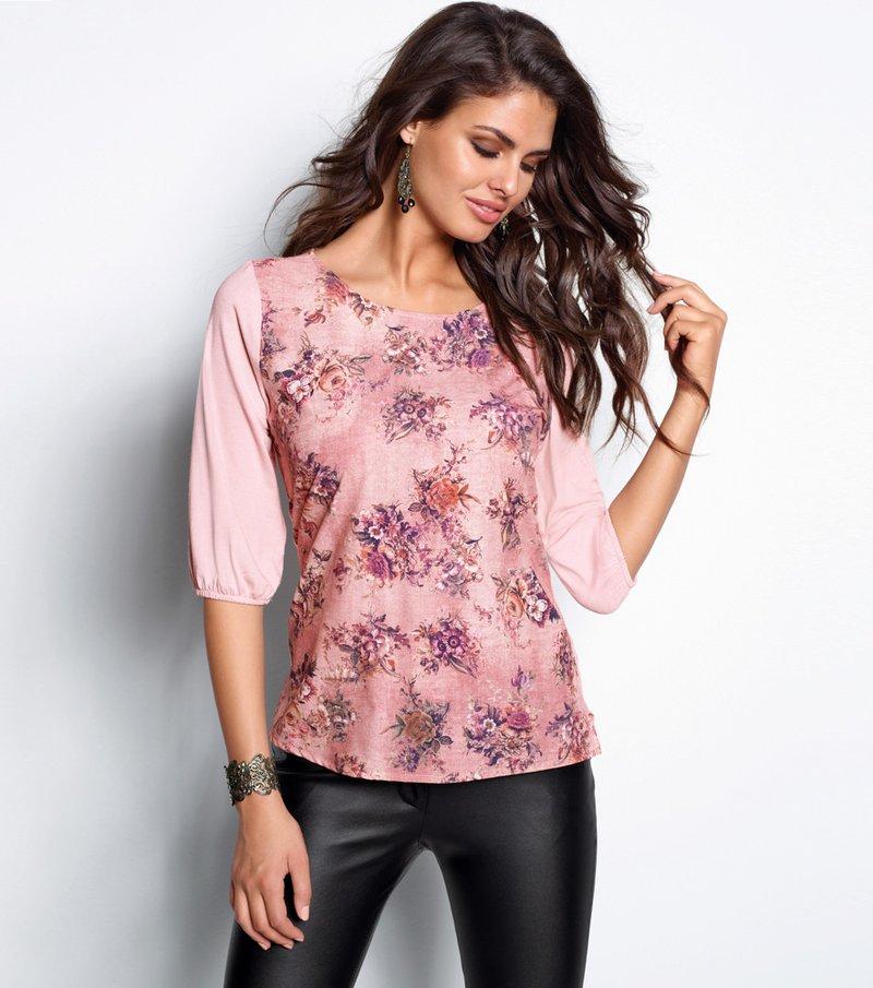 Blusa mujer manga 3/4 con estampado floral