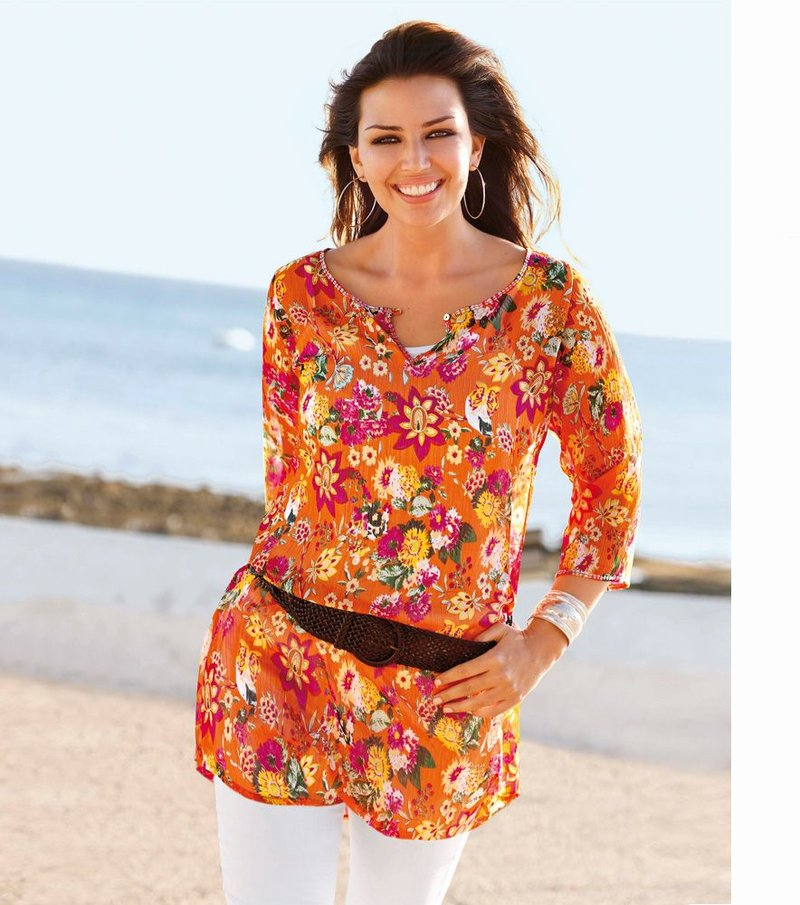 Blusa larga mujer estampada con camiseta