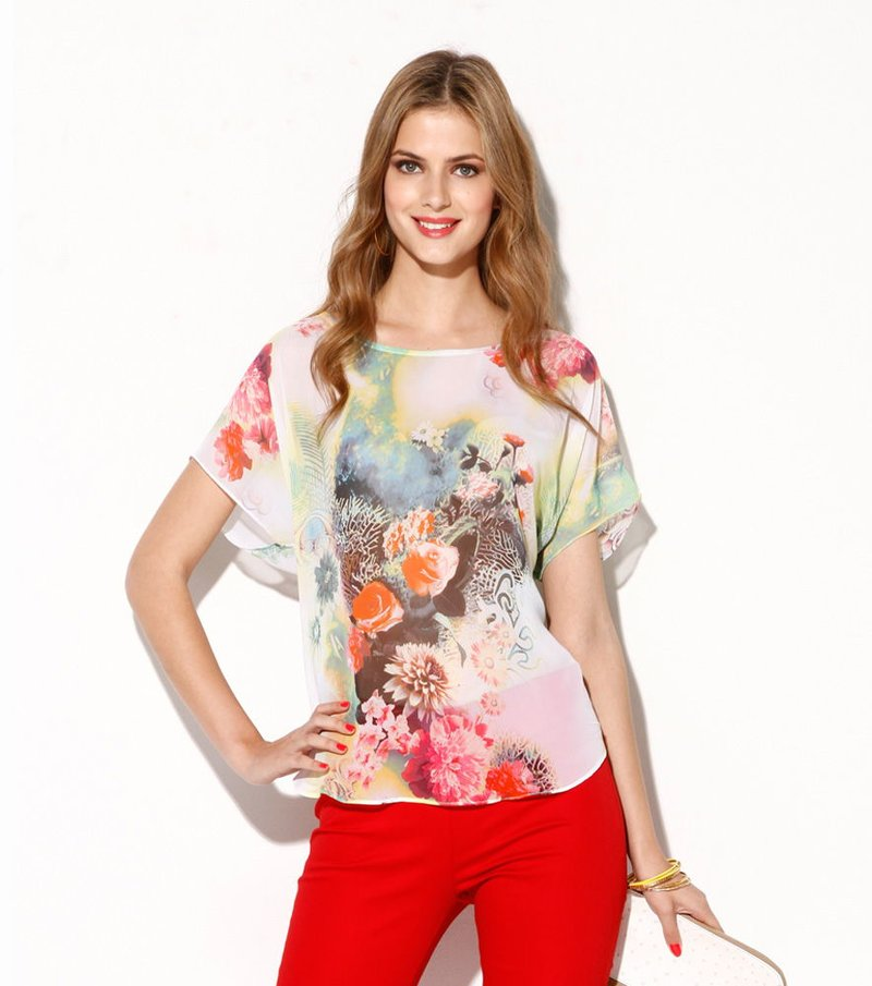 Blusa mujer manga corta estampado flores