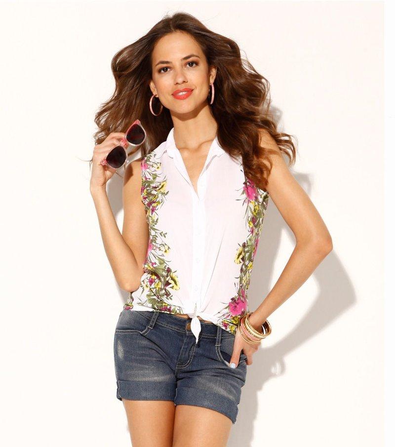 Camisa blusa mujer sin mangas floral en los costados