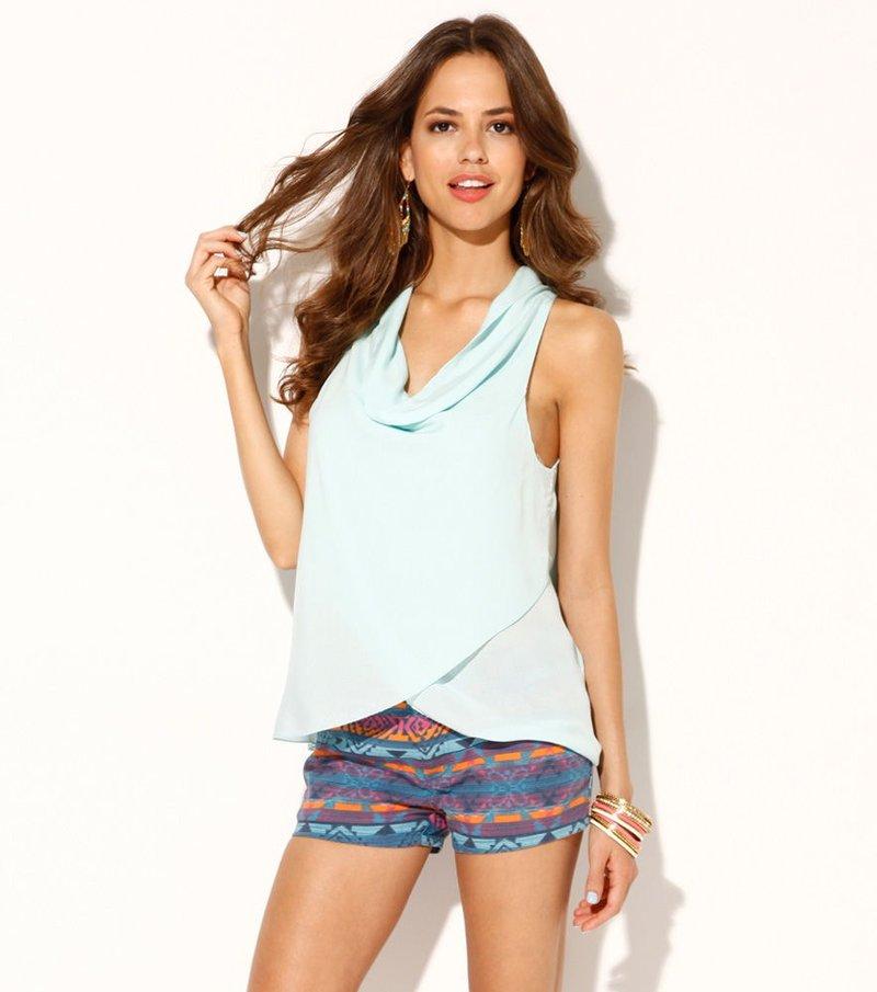 Blusa mujer sin mangas efecto pareo azul