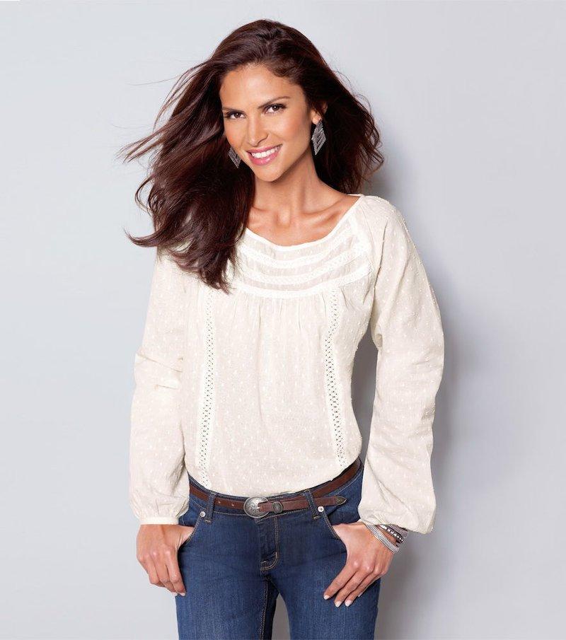 Blusa mujer manga larga puntilla