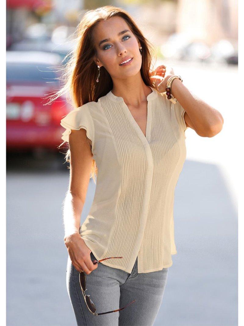 Camisa blusa mujer manga corta jaretas y volantes