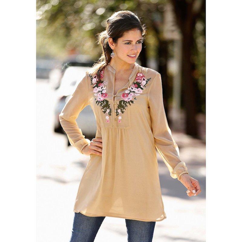 Blusa larga mujer con top bordada - Beige