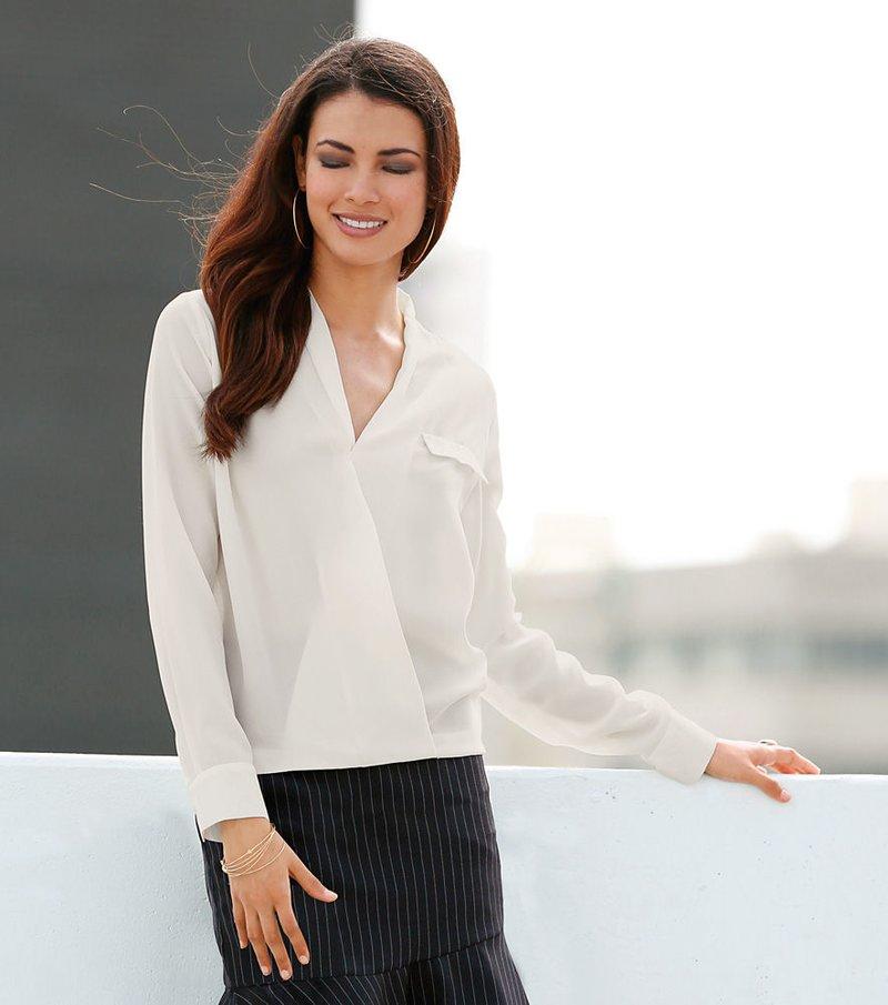 Camisa blusa para mujer manga 3/4 crepe