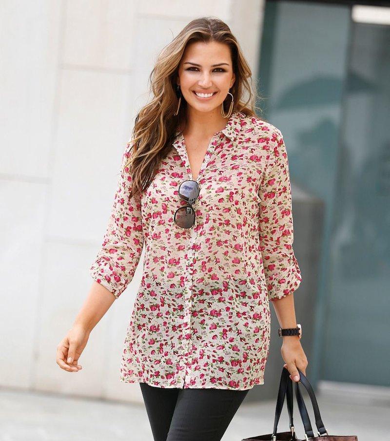 Blusa mujer manga regulable estampada flores - Crudo