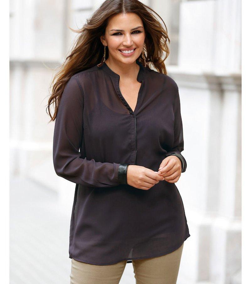 Blusa mujer manga larga detalles símil piel