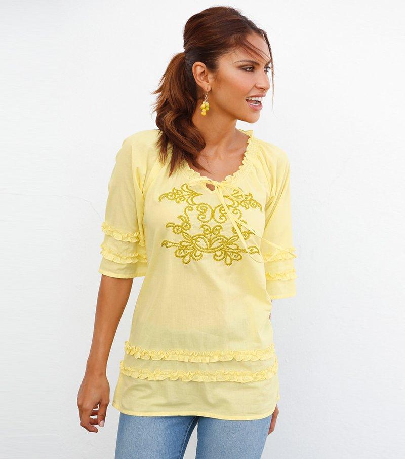 Blusa mujer manga 3/4 con volantes y bordado - Amarillo