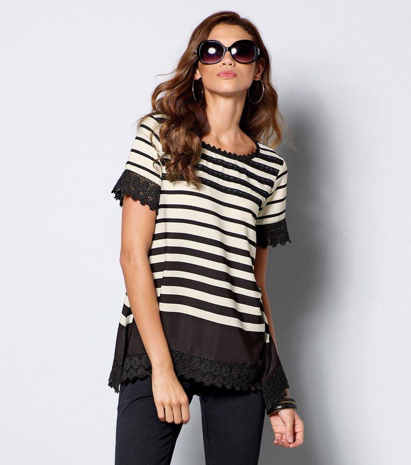 Blusa mujer manga corta rayas con ganchillo