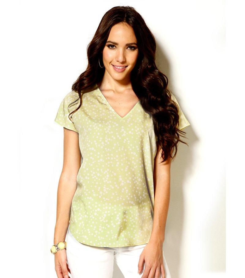 Blusa mujer manga corta topos - Verde