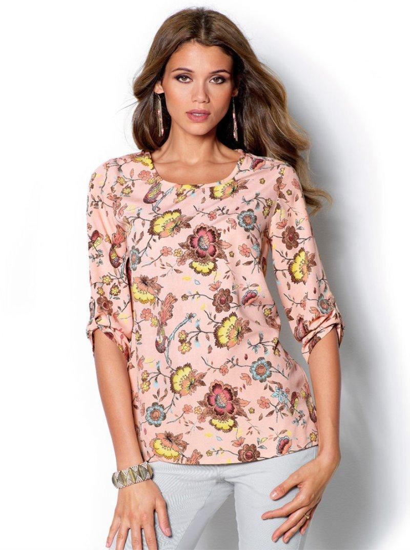 Blusa camisa mujer manga 3/4 asimétrica estampada