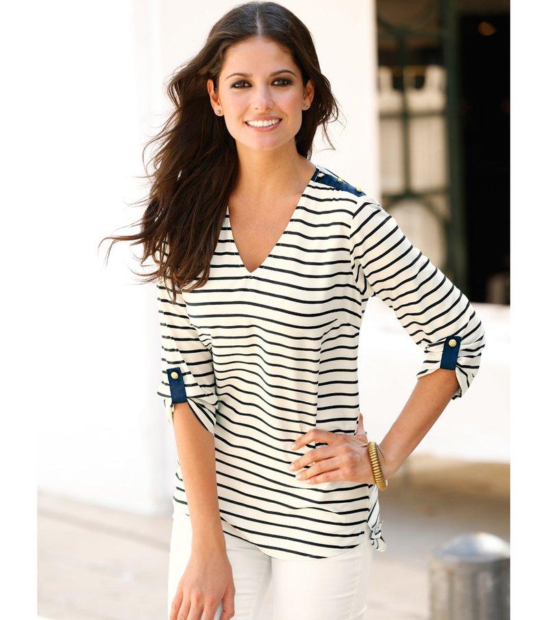 Blusa mujer manga larga regulable marinera