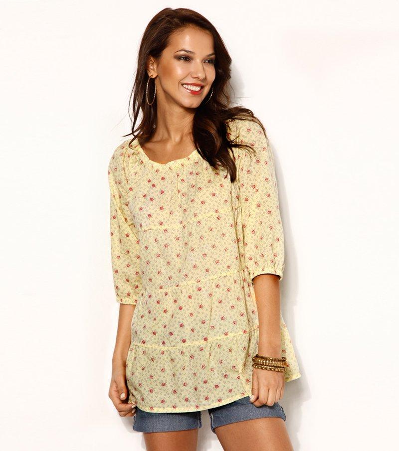 Blusa mujer manga 3/4 estampada cambric - Amarillo