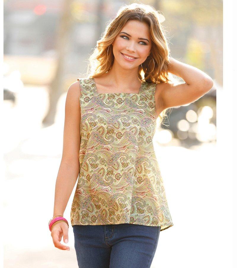 Camisa mujer tirantes estampada cambric - Amarillo