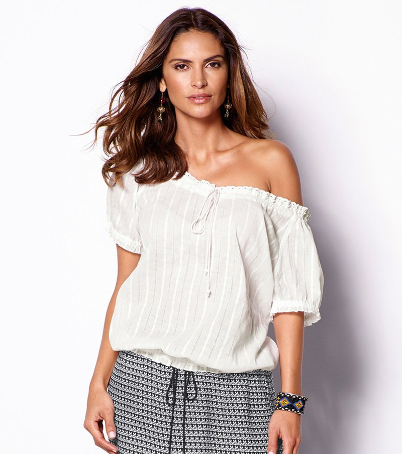 Blusa mujer manga corta con bordado inglés - Crudo