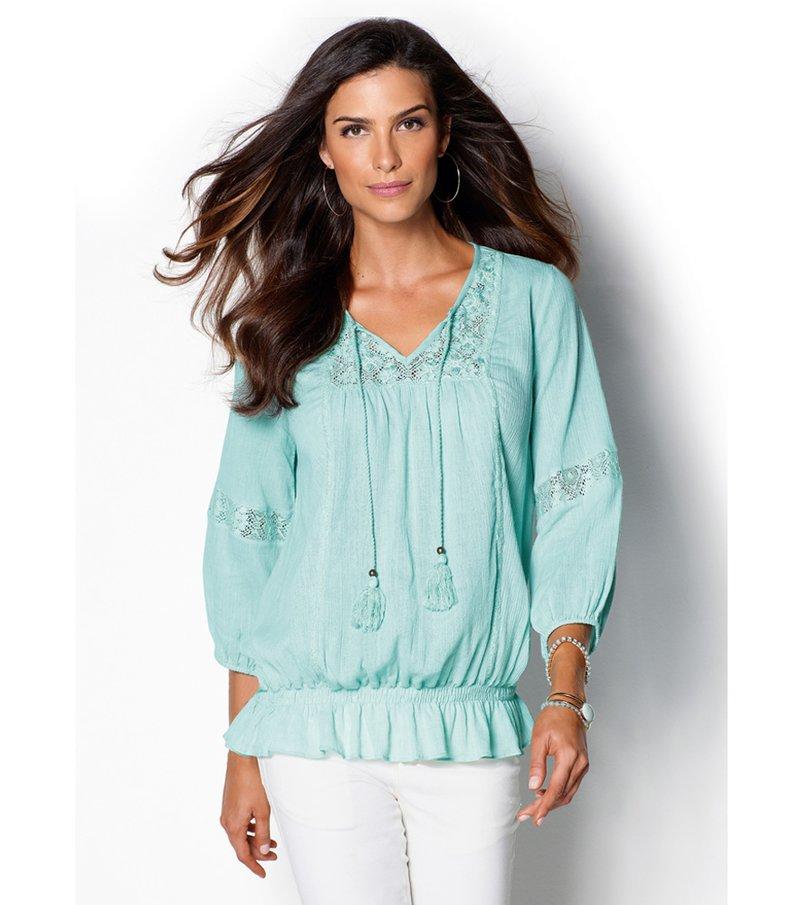 Blusa mujer manga 3/4 con bordado y encaje - Verde