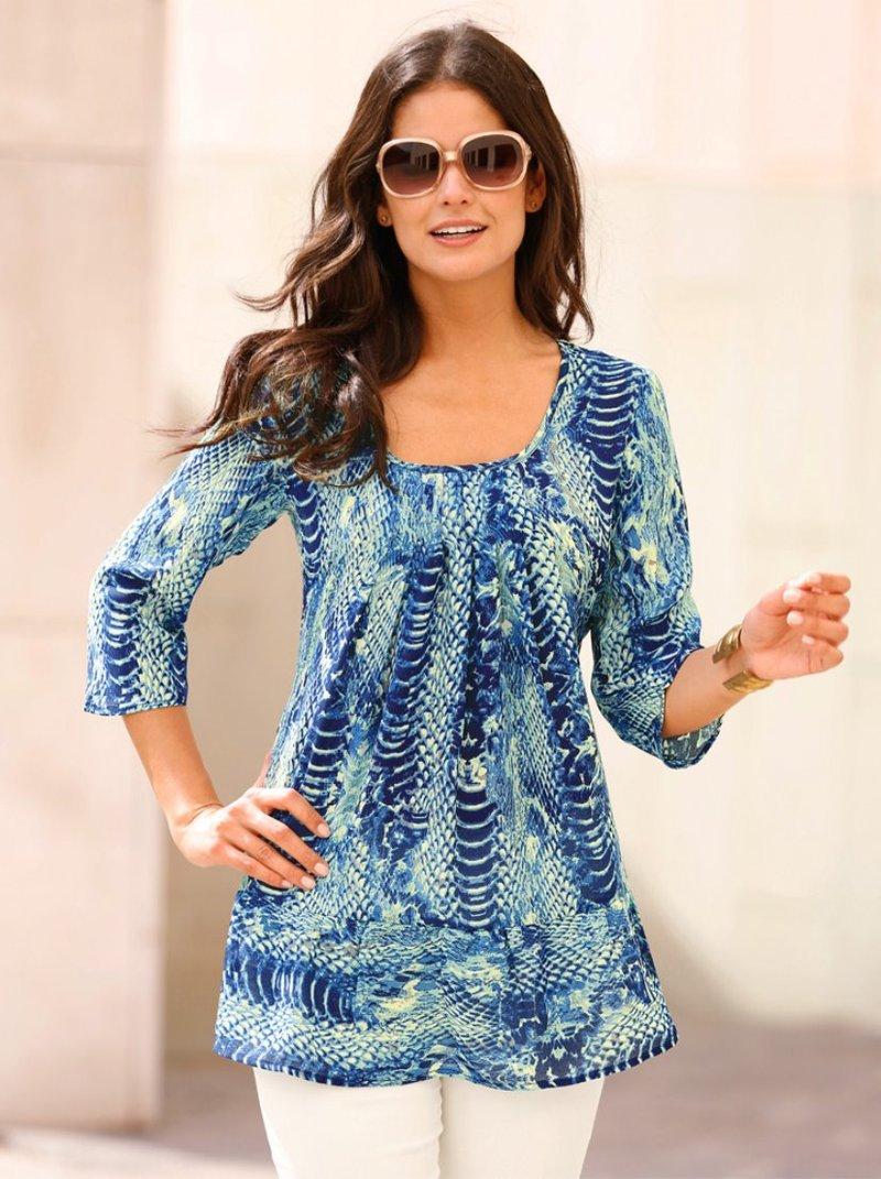 Blusa túnica mujer manga 3/4 estampado animal
