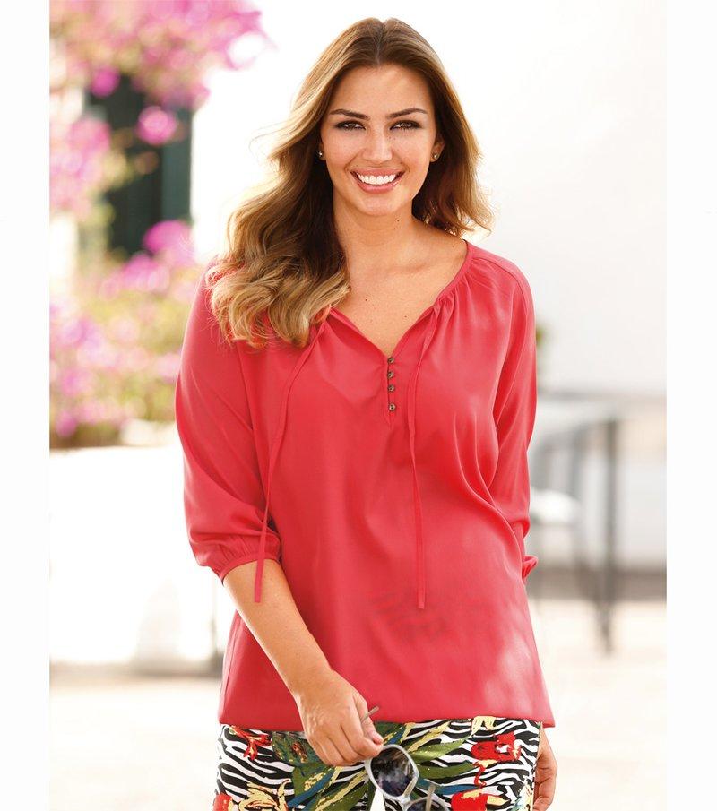 Blusa de mujer manga al codo escote redondo