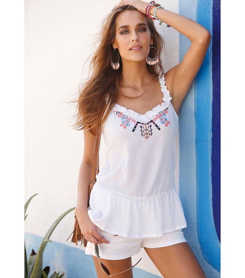 Blusa mujer de tirantes con bordado - Blanco