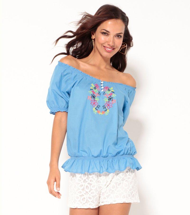Blusa manga corta con bordado y acabados elástico - Azul