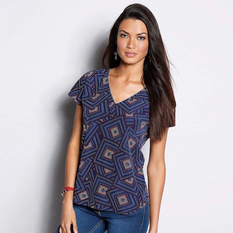 Blusa mujer manga corta estampado geométrico azul