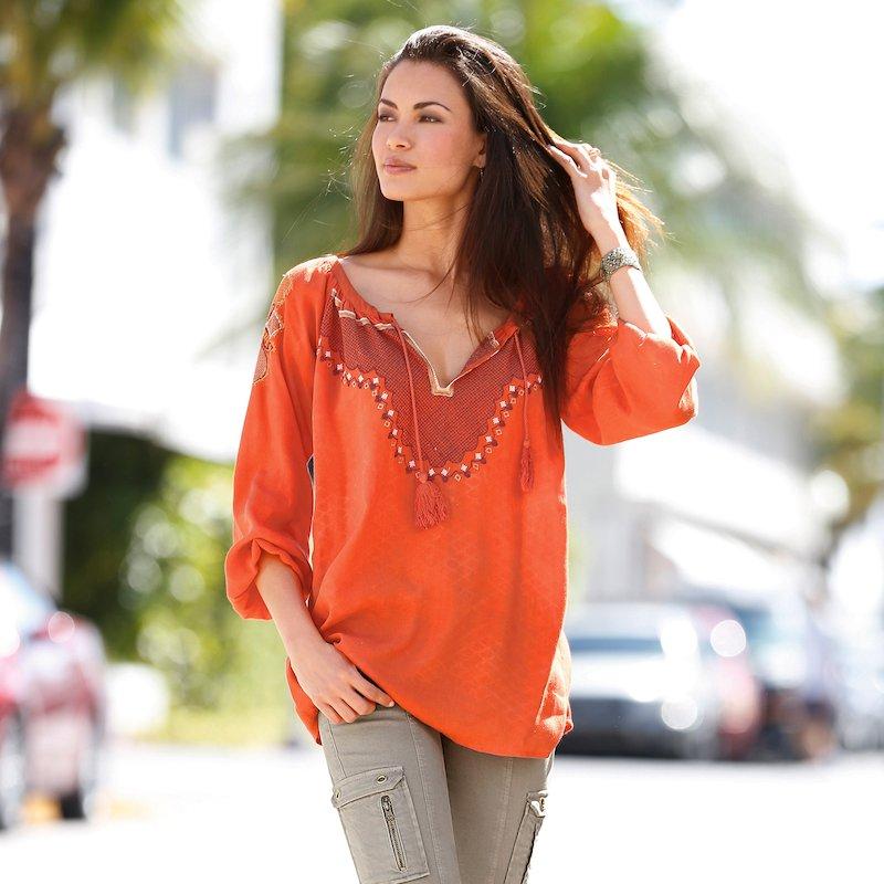 Blusa mujer manga larga bordada con pompones - Naranja