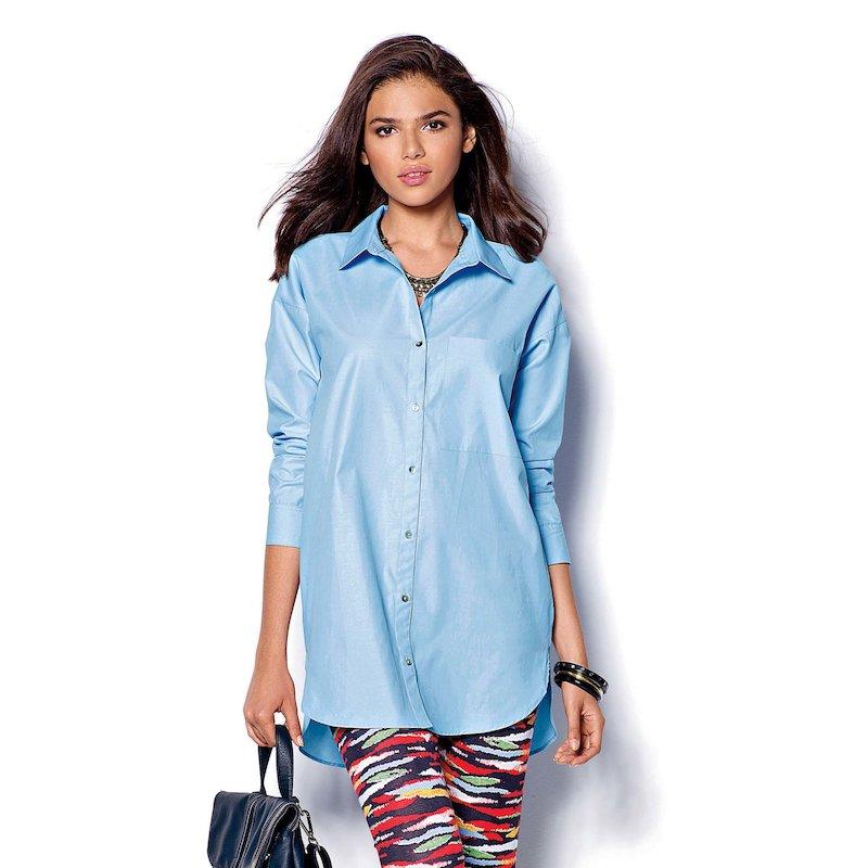 Camisa mujer manga larga asimétrica - Azul