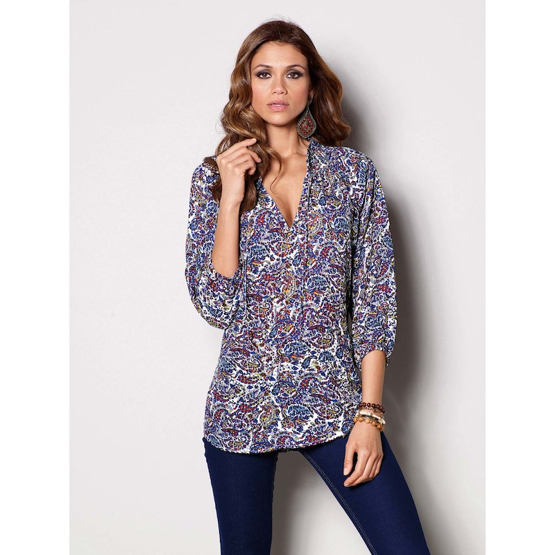Blusa manga 3/4 estampada estampado azul