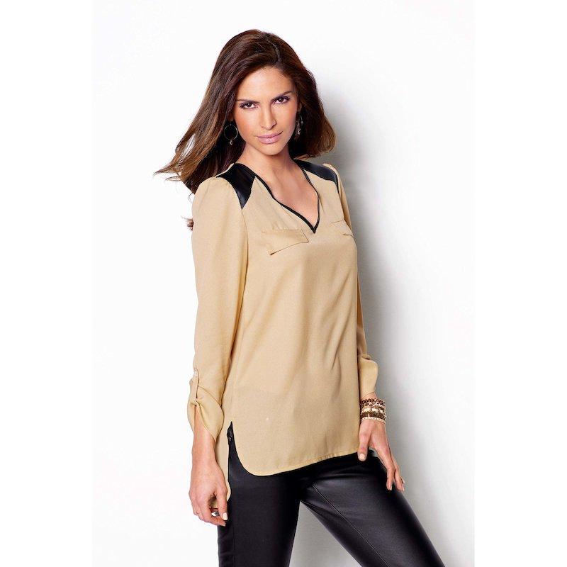 Blusa mujer manga regulable con símil piel
