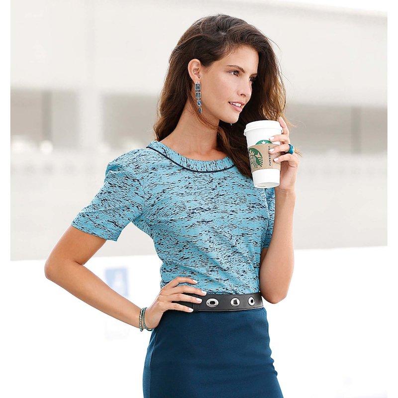 Blusa mujer manga corta con espalda de fantasía