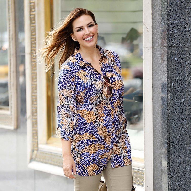 Blusa estampada mujer manga larga