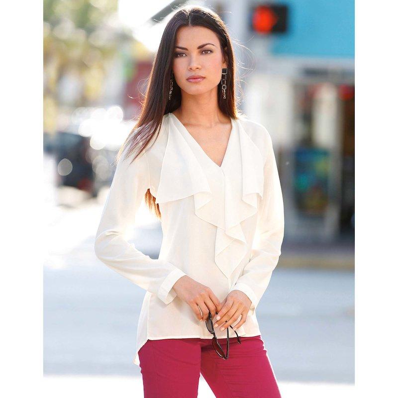 Blusa mujer manga larga con volante
