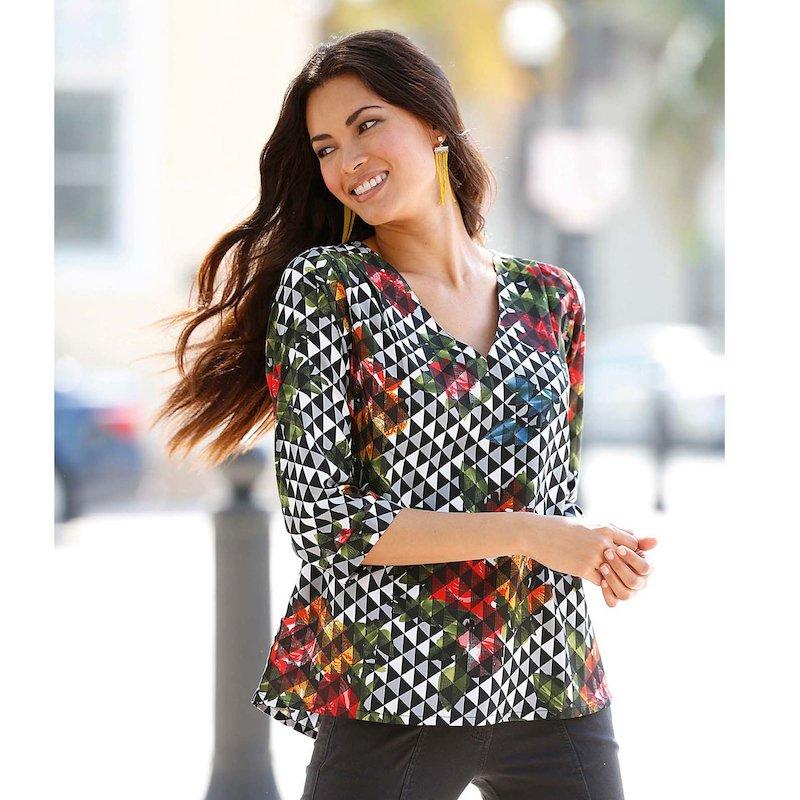 Blusa mujer manga 3/4 estampado geométrico