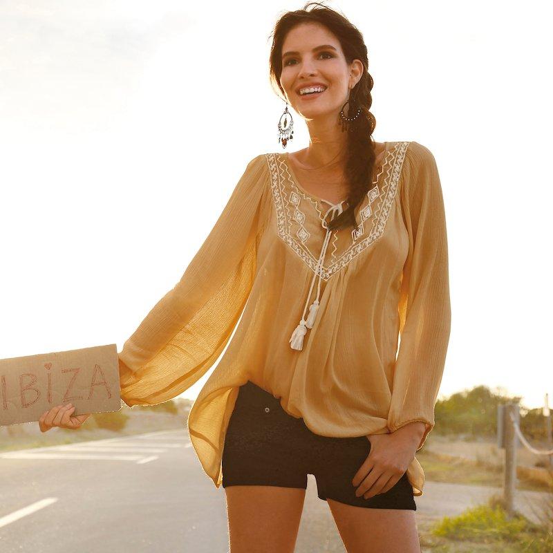 Blusa mujer hippie con bordado tejido bambula