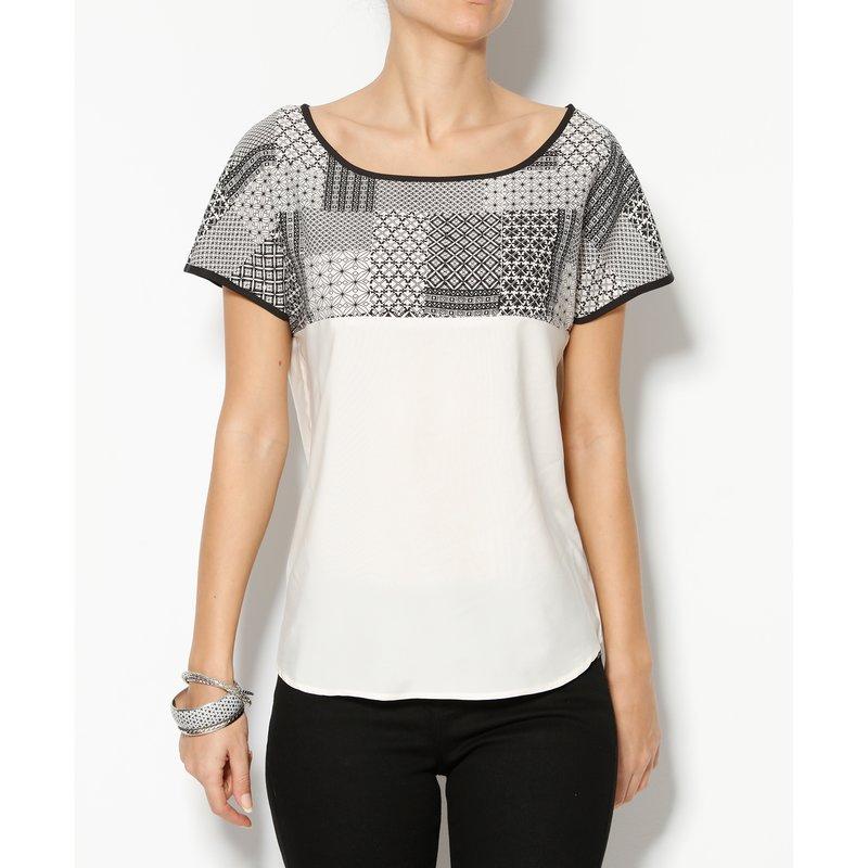 Blusa mujer de manga corta con estampado tipo mosaico - Crudo