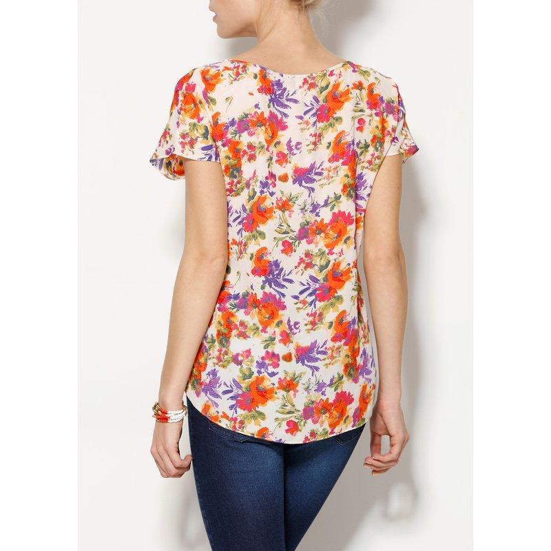 a453eeb4b4ee Blusa floral multicolor de manga corta mujer