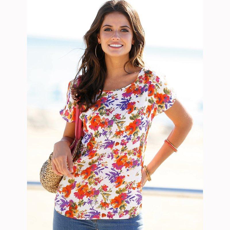 Blusa floral multicolor de manga corta mujer