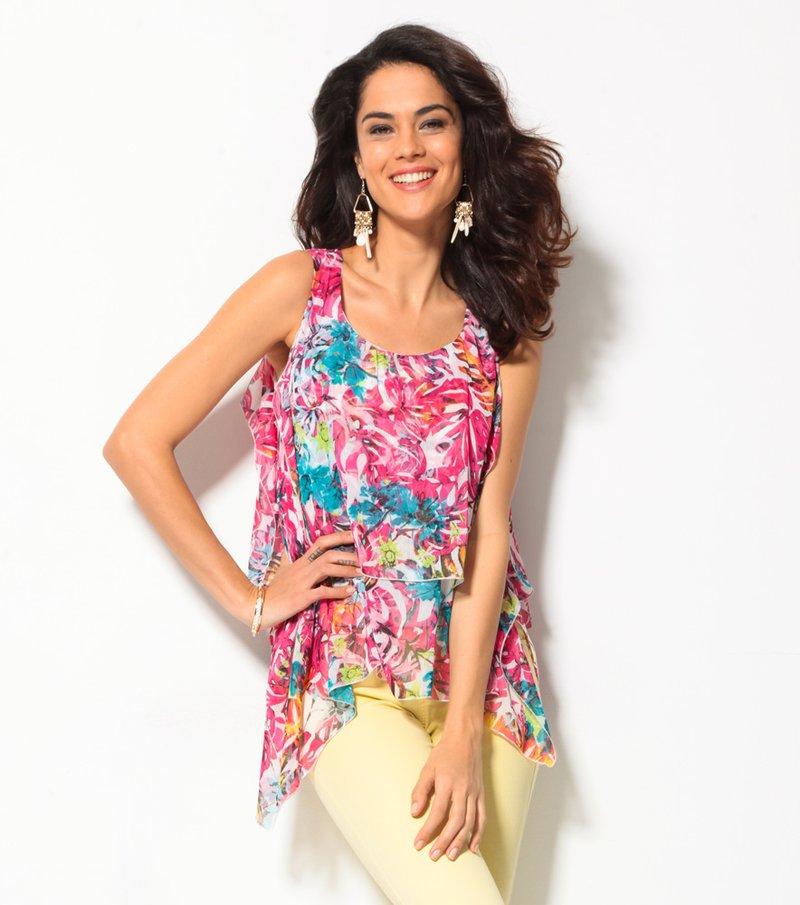 Blusa mujer sin mangas asimétrica estampada